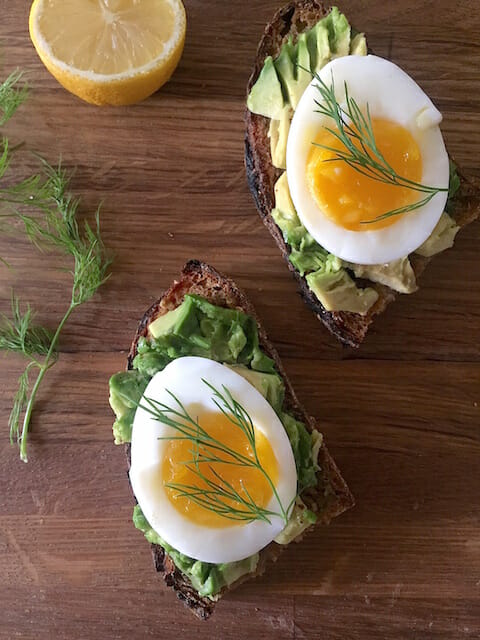 Avocado Toast Topped with Soft Cooked Egg - Mom's Kitchen Handbook