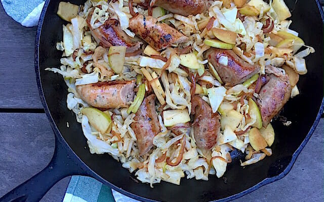 Sausage, Cabbage, and Apple Skillet