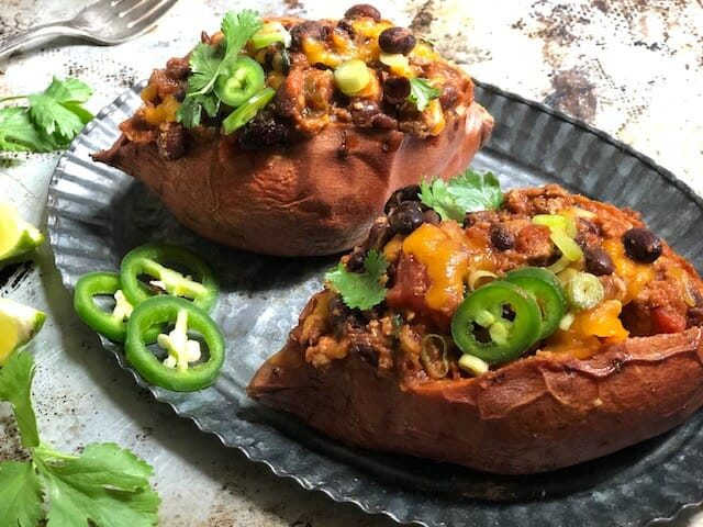 Chili Stuffed Sweet Potatoes with jalapenos and lime