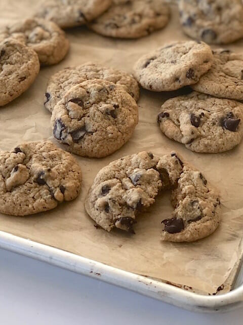 Healthier Chocolate Chip Cookies on a sheet pan