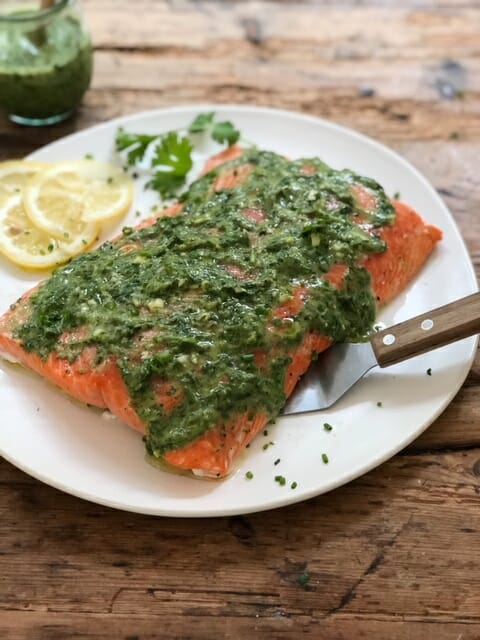 Slow Roasted Salmon with Green Sauce