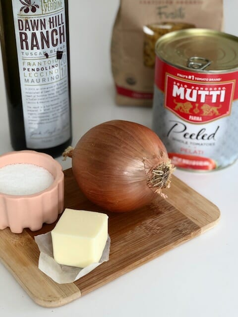 Ingredients for Marcella Hazan's Simple Tomato Sauce for Pasta